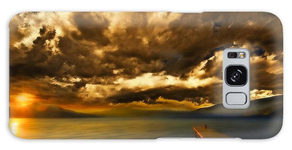 Sun Set At The Lake Galaxy Case