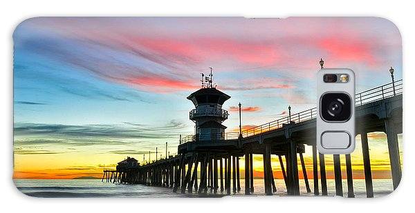 Sunet At Huntington Beach Pier Galaxy Case
