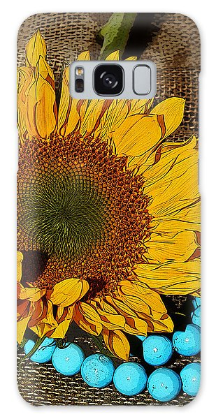 Sunflower Burlap And Turquoise Galaxy Case by Phyllis Denton