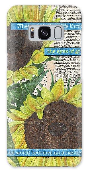 Sunflower Galaxy S8 Case - Sunflower Dictionary 2 by Debbie DeWitt