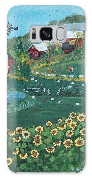 Sunflower Farm Galaxy Case by Virginia Coyle
