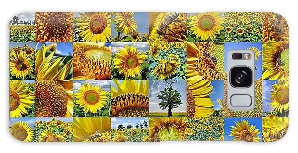Sunflower Field Collage In Yellow Galaxy Case