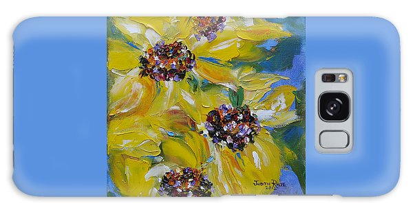 Galaxy Case featuring the painting Sunflower Quartet by Judith Rhue