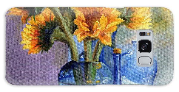 Sunflowers And Blue Bottles Galaxy Case by Marlene Book
