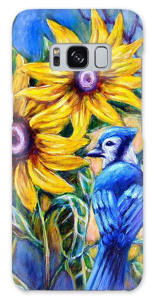 Sunflowers And Blue Jay Galaxy Case by Sebastian Pierre