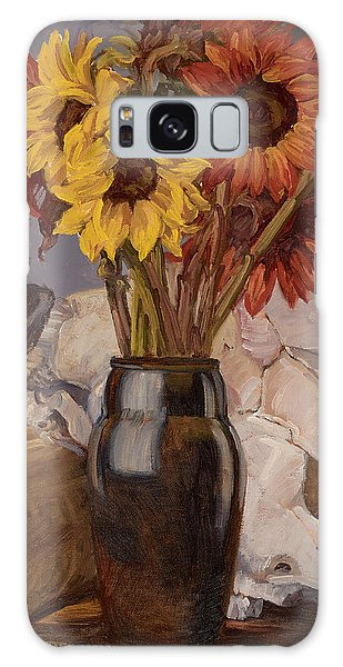 Sunflowers And Buffalo Skull Galaxy Case by Jane Thorpe