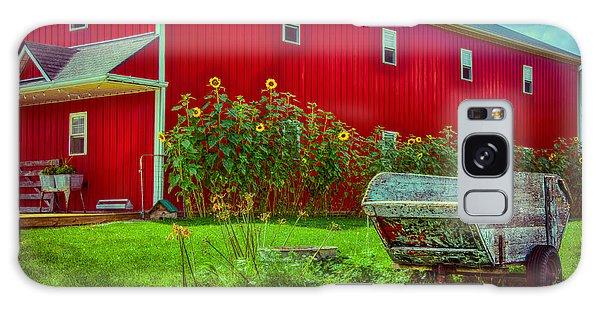 Sunflowers Beside A Big Red Barn Galaxy Case