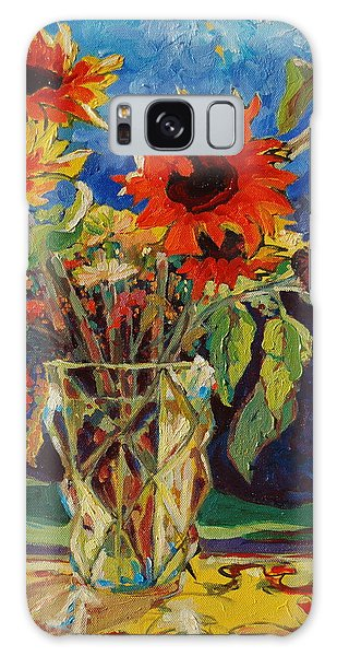Sunflowers In A Crystal Vase Galaxy Case