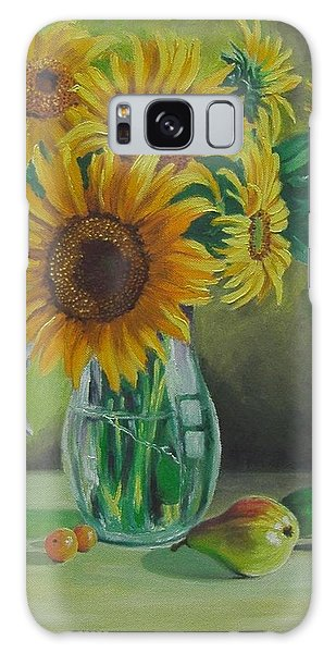 Sunflowers In Glass Jug Galaxy Case by Nina Mitkova
