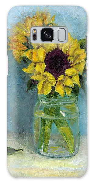 Sunflowers In Mason Jar Galaxy Case by Sandra Nardone