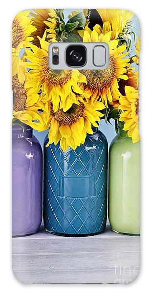 Sunflowers In Painted Mason Jars Galaxy Case by Stephanie Frey