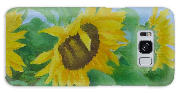 Sunflowers In The Wind Colorful Original Sunflower Art Oil Painting Artist K Joann Russell           Galaxy Case