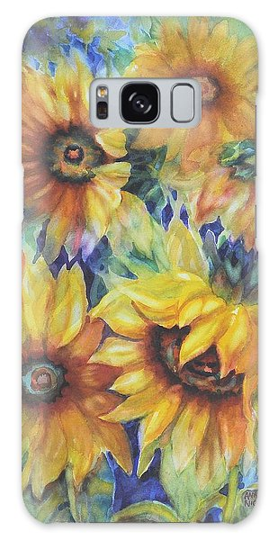 Sunflowers On Blue I Galaxy Case