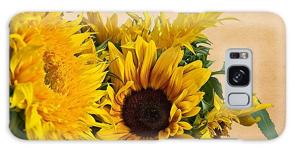 Sunflowers On Old Paper Background Art Prints Galaxy Case by Valerie Garner