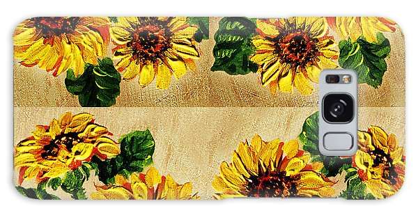 Outdoor Dining Galaxy Case - Sunflowers Pattern Country Field On Wooden Board by Irina Sztukowski