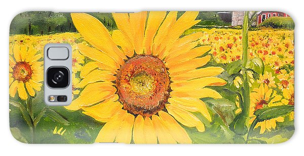 Sunflowers - Red Barn - Pennsylvania Galaxy Case