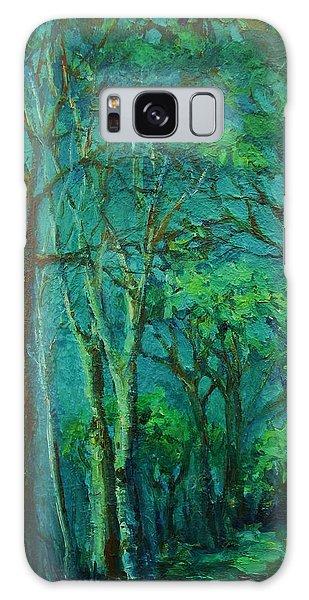 Sunlit Woodland Path Galaxy Case