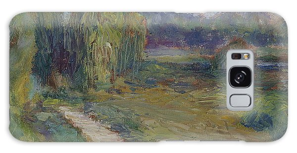 Sunny Morning In The Park -wetlands - Original - Textural Palette Knife Painting Galaxy Case