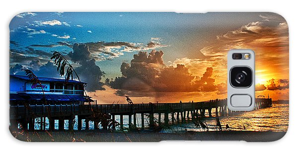 Sunrise At Lake Worth Pier Galaxy Case by Don Durfee