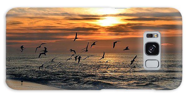 Sunrise Colors Over Navarre Beach With Flock Of Seagulls Galaxy Case by Jeff at JSJ Photography
