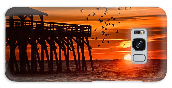 Sunrise In Myrtle Beach With Birds Flying Around The Pier Galaxy Case