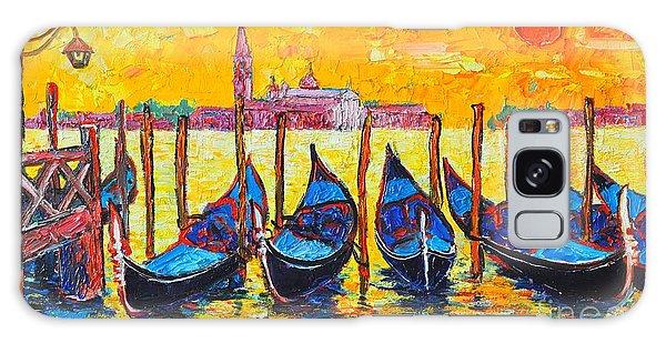 Sunrise In Venice Italy Gondolas And San Giorgio Maggiore Galaxy Case