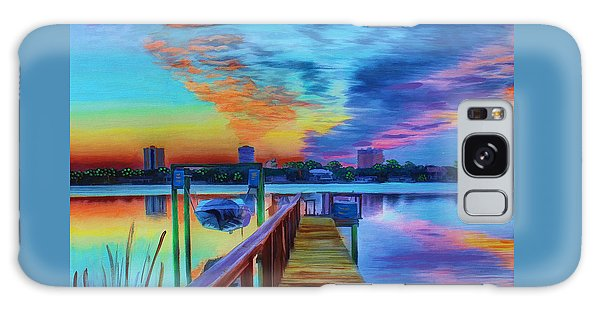 Galaxy Case featuring the painting Sunrise On The Dock by Deborah Boyd