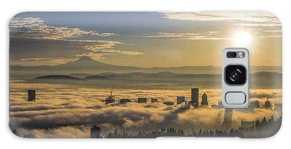 Sunrise Over Foggy Portland Galaxy Case