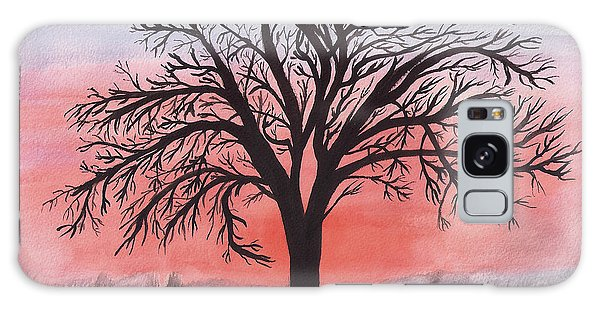 November Sunrise Walnut Tree Watercolor Galaxy Case