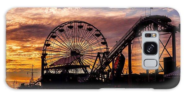 Sunset Amusement Park Farris Wheel On The Pier Fine Art Photography Print Galaxy Case by Jerry Cowart