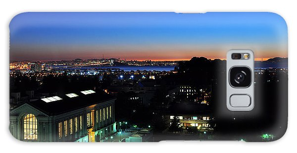 Sunset And Crescent Moon Over Campus Galaxy Case