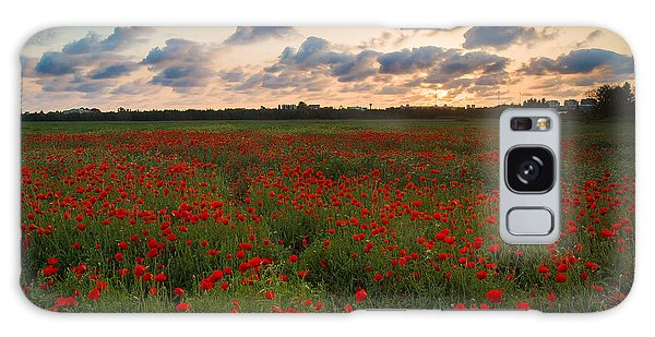 Sunset And Poppies Galaxy Case