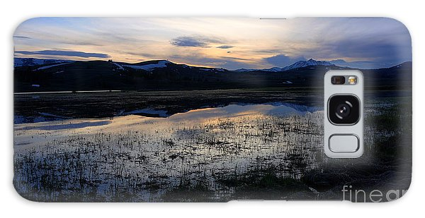 Sunset At A Lake Near Mammoth In Yellowstone Galaxy Case