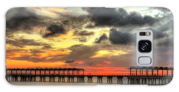 Sunset At Clam Creek Fishing Pier Galaxy Case