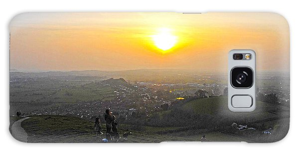 Sunset At Glastonbury Tor Galaxy Case by Andrew Middleton