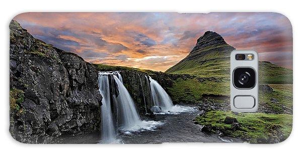 Sunset At Mt. Kirkjufell Galaxy Case by Roman Kurywczak