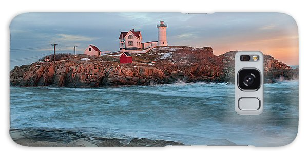 Sunset At Nubble Lighthouse Galaxy Case
