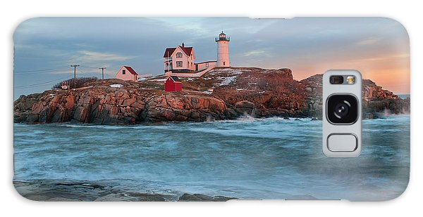 Sunset At Nubble Lighthouse Galaxy Case by Sharon Seaward