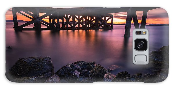 Sunset At Portencross Jetty Galaxy Case by Fiona Messenger
