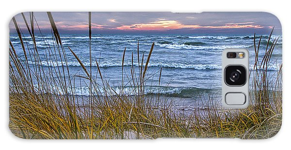 Sunset On The Beach At Lake Michigan With Dune Grass Galaxy Case
