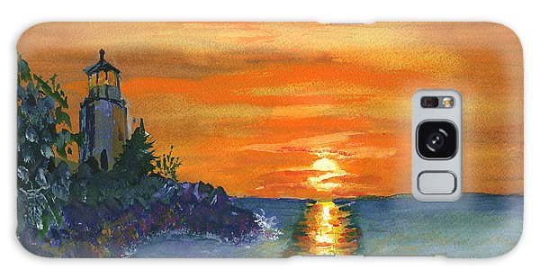 Sunset At The Lighthouse Galaxy Case