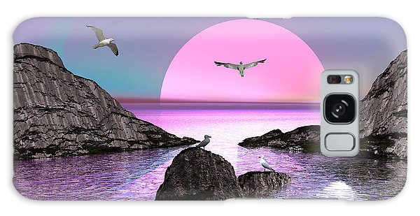 Sunset Birds In Flight Galaxy Case by Jacqueline Lloyd