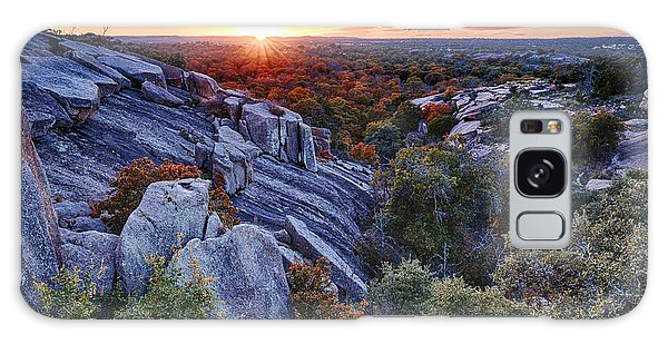 Sunset From The Top Of Little Rock At Enchanted Rock State Park - Fredericksburg Texas Hill Country Galaxy Case