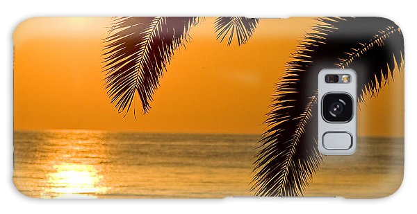 Sunset Golden Color With Palm Galaxy Case