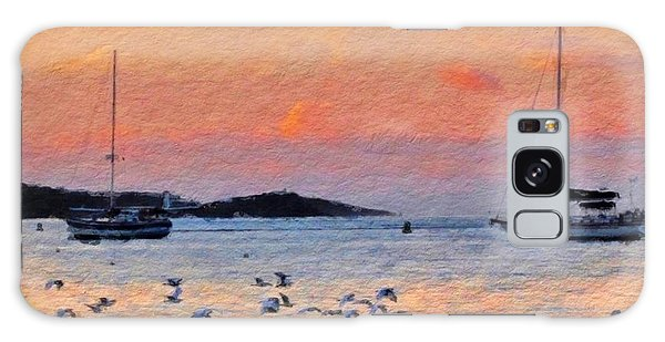 Sunset Harbor With Birds - Square Galaxy Case
