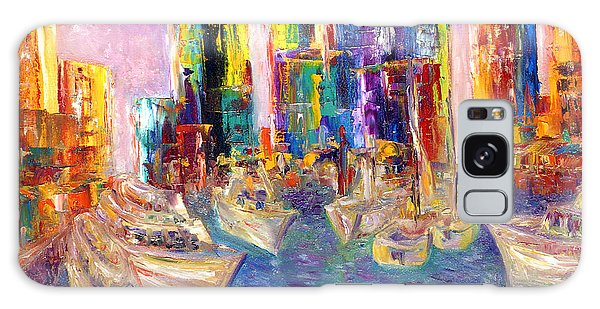 Sunset In A Harbor Galaxy Case by Helen Kagan