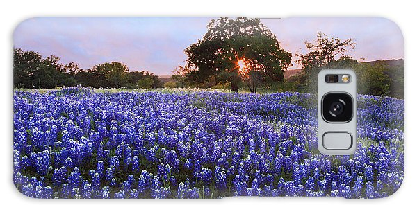 Sunset In Bluebonnet Field Galaxy Case