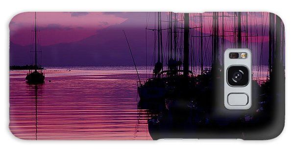 Sunset In Pink And Purple With Yachts At Bay Galaxy Case