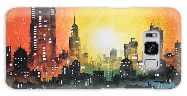 Sunset In The City Galaxy Case by Amy Giacomelli
