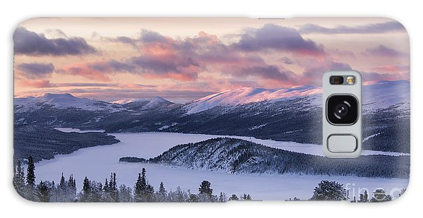 Sunset In Winter Mountains Galaxy Case